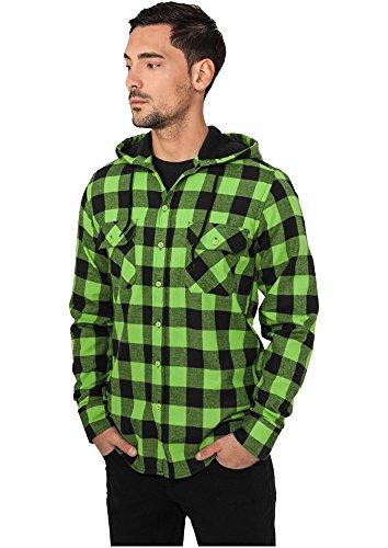Urban Classics Herren Freizeithemd Hooded Checked Flanell Shirt Black/Limegreen