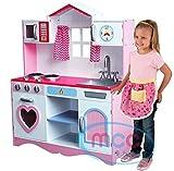 MCC Gran cocina de juego rosa de madera para niños con imaginación juego de rol
