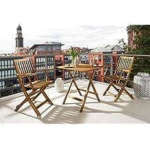 SAM® Conjunto para jardín resistente, 3 piezas, mueble de madera de acacia, 1 mesa + 2 sillas plegables aceitadas. Madera maciza y certificada FSC® 100%