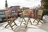 SAM® Set da giardino in legno d'acacia formato da 3 pezzi, 1 tavolo + 2 sedie, pieghevole, oleato e con belle venature, insieme da giardino robusto