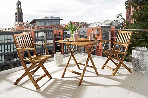 SAM® Conjunto para jardín resistente, 3 piezas, mueble de madera de acacia,...