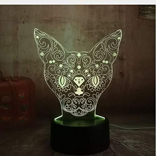 Nachtlicht 3D Katze Dekoration Kätzchen Kopf Hirsch Led 7 Farbwechsel Tabby Schreibtisch Illusion Lampe Schlafzimmer Party Geschenk Nachtlicht Tan Hirsch