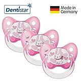 Dentistar Schnuller 3er Set- Nuckel Silikon in Größe 2, 6-14 Monate - zahnfreundlich & kiefergerecht - Beruhigungssauger für Babys - Pink Hase