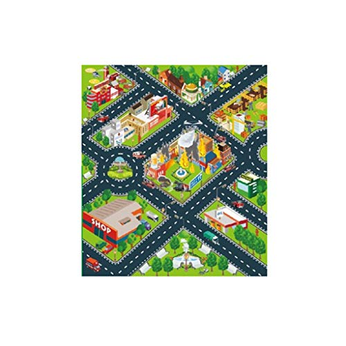 Teppich Matte für Kindererziehung Wohnzimmer Road Playmat Kinderteppich Playmat für das Spielen mit Autos Spielzeug Kinder Schlafzimmer Dekoration(Mehrfarben E,70x80cm)
