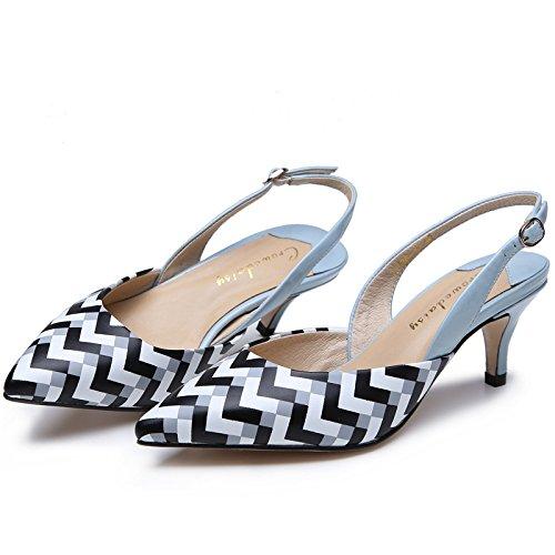 WSS chaussures à talon haut Bandes d'asakuchi talon haut en cuir chaussures boucle sandales de baotou talons Blue