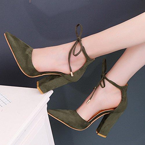ZHUDJ Nackt_High Hingewiesen - Schuhe mit Dicken Fuß Ring Nackte Damen Pumps Heel Schuhe Sandalen Weiblich, Armee Grün, 36 -