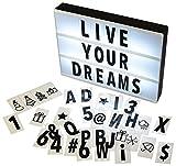 Gadgy ® Cinema LightBox A4 | 96 Schwarze Buchstaben, Ziffern, Symbole Inklusive | Größe 30 x 22 x 4,5 cm | Batteriebetrieben mit Adapteranschluss | Vintage LED Zeichen, zur Ankündigung oder Dekoration