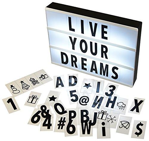 Gadgy ® Cinema LightBox A4 | Caja de Luz Cinematográfica con 96 Letras Números y Símbolos | Tamaño 30x22x4,5cm | Funciona con Pilas | Caja Luz LED Vintage