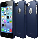 iPhone SE / 5S / 5 Case, Ringke [SLIM] Snug-Fit Slender [Tailored Cutouts] Ultra-Thin Side to Side Edge Coverage Superior Coating PC Hard Skin for Apple iPhone SE (2016) / 5S (2013) / 5 (2012) - Logo Cutout Navy