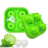 AOLVO groß Silikon Ice Cube Tabletts mit Deckel, Soccer Fußball Rund Ice Cube Maker mit Mini Trichter Grün
