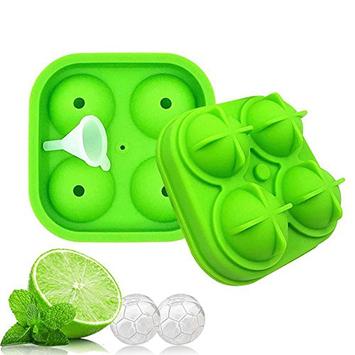 KOBWA 3D Eiswürfelform, mit Deckel, Fußball Form Silikon Ice Ball Maker BPA-Frei Flexible Ice Cube Schacht Formen–Best für Whiskey, Highball, Cocktail, Scotch Oder Likör Gläser (1Pack) Grün Glas Punch Cup