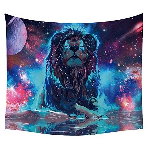 Morbuy Kreativ Mandala Tapestry Hippie Wandteppich Wolf Tapisserie Design Motiv Wandbehang Wandtuch Tischdecke Meditation Strandtuch Yogamatte Wall Home Décor (150 x 200cm, Löwe) -