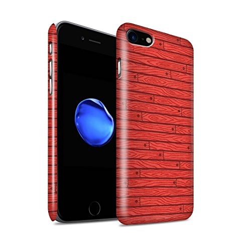 STUFF4 Glanz Snap-On Hülle / Case für Apple iPhone 8 / Rot Muster / Holz-Muster Kollektion Rot