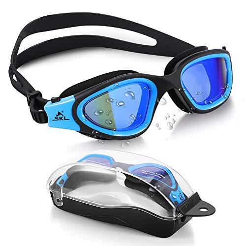 SKL Schwimmbrille Herren Damen Taucherbrille für Erwachsene Swimming Goggles Wasserdicht Weitwinkel Schwimmbrille Antibeschlag, 100% UV-Schutz mit Schutztasche für Männer Frauen Jugen blau