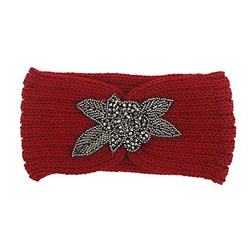 Janly Frauen Stricken Stirnband handgemacht halten warme Haarband Vier-Blatt-Bohrer Stricken Haar Perücke Stirnband Haarband (Rot)