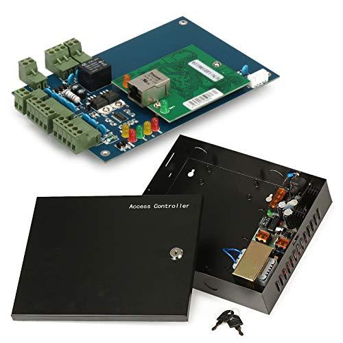 ZOTER Access Control Board, Ethernet TCP IP Netzwerkeingang Türpaneel Controller 1 Tür 2 Leser Datenbank Security System + AC 220 V Metall Netzteil Box -