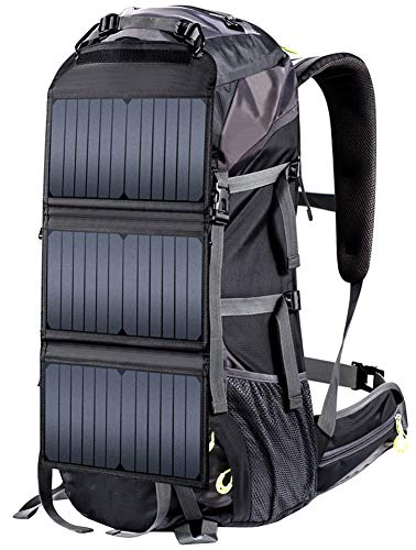 LIEOAGB Solar Panel Rucksack Mit Usb Ladeanschluss Daypack Solar Bergsteigen Tasche Perfekt Wandern Camping Radfahren Trekking Notfall Und Outdoor Rucksack-black-onesize -