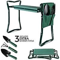 Masthome Taburete para Jardineria,Banco de Rodillas para Jardín con 3 Herramientas, Color Verde, 2 en 1,Plegables, portátiles
