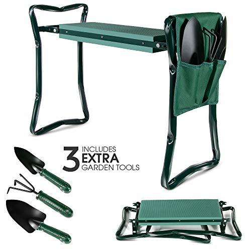 Agenouilloir de Jardin Vert avec 3 Outils de Gardin Banc Agenouilloir de Jardin Pliable Masthome