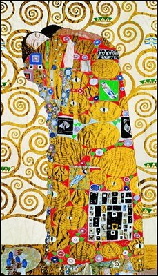 quadri & cornici HB - Gustav Klimt ' L'Abbraccio ' quadro,stampa su legno, poster su legno, bordo nero