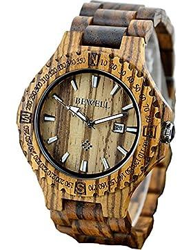 Findtime Holzuhr Herren Armbanduhr Datum Vintage Umweltfreundlich Mode Design Holz Zebraholz Quarzuhr Analog Kalender...
