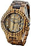 Findtime Holzuhr Herren Armbanduhr Datum Vintage Umweltfreundlich Mode Design Holz Zebraholz Quarzuhr Analog Kalender Männer Freund Ehemann Geschenk