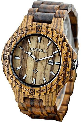 Findtime Hombre Madera distintivo raros Quartz Relojes deportivos Analogico