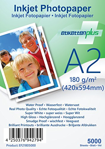 EtikettenPlus 180 gsm High Gloss Waterproof Smudge proof High Quality Photo paper (A2 5000 Sheets)