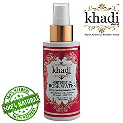 Khadi Global Rehydrating Rose Water Derived From Real Indian Rose Petals Facial MIST Toner Originated in INDIA 100ml / 3.38 Fl.Oz | 100% Pure & Steam Distilled, Contains 0% Alcohol | For All Skin Type | 100% Natural Product