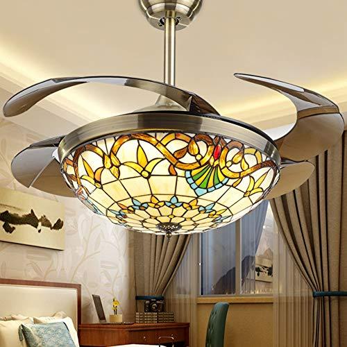 Xiqan Tiffany Ventilador de Techo con luz, lámpara de Techo de Metal, 42 pulg. Control Remoto LED Luz...