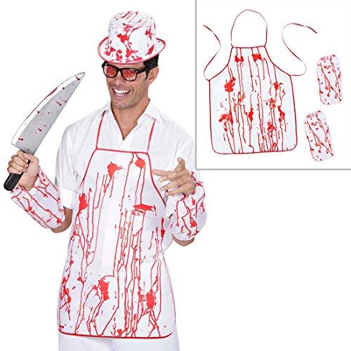 (NET TOYS Blutige Schlachter Kochschürze Metzger Schürze weiß-rot Grillschürze Halloween Zombie Koch Outfit Blutbad Schlächter Kostüm Halloweenkostüm Zubehör)