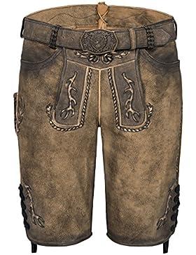 Michaelax-Fashion-Trade Spieth & Wensky - Herren Trachten Lederhose mit Gürtel, Gino (300045-1234)