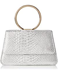 SwankySwansPiper Snakeskin Pu Leather Clutch Bags Silver - Sacchetto donna