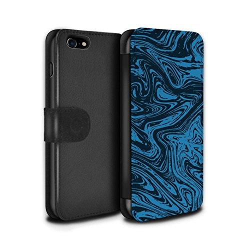 Stuff4 Coque/Etui/Housse Cuir PU Case/Cover pour Apple iPhone 8 / Argent Design / Effet Métal Liquide Fondu Collection Bleu