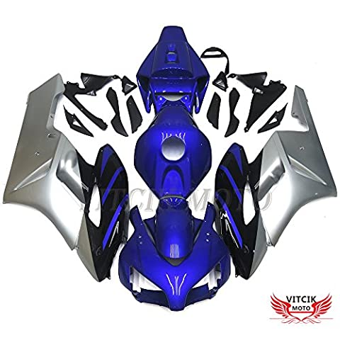 VITCIK (Fairing Kits Fit for Honda CBR1000RR 2004 2005 CBR1000 RR 04 05) Plastic ABS Injection Mold Complete Motorcycle Body Aftermarket Bodywork Frame(Blue & Silver)