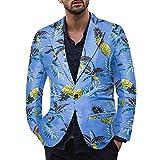 Dwevkeful Anzug Herren Langarm Ananas Drucken Hawaiihemd Sakko Casual Herbst Und Winter Feiertag Mit Bequemen Mode Bequeme Regular Fit
