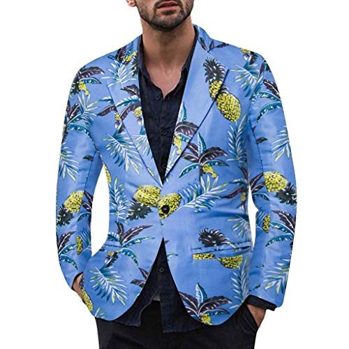Dasongff Blazer Herren Slim Fit Charm Männer Casual 1 Button Fit Anzug Blazer Mantel Jacke Gedruckt Tops Suits Hawaii Karneval Fasching Party