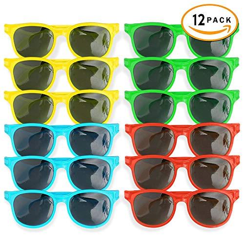 12er Set Sonnenbrille für Kinder in 4 verschiedenen bunten Farben - Moderne & modische Jungen & Mädchen Designer Retro Brillen - perfekte Sunglasses als Kinder-Geburtstag Mitgebsel & Partyset