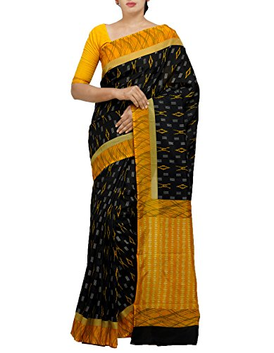 Unnati Silks Women Black Ikat Pochampally Art Silk Saree with Blouse from...
