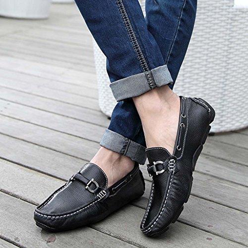ZXCV Scarpe all'aperto Scarpe Piselli Uomo pattini scarpe traspiranti in pelle casual Nero