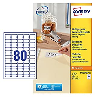 Avery L4732REV-25 Self-Adhesive Removable Mini Labels, 80 Labels Per A4 Sheet, White