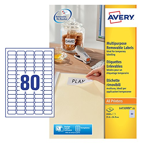 AVERY Zweckform L4732REV-25 Etiketten (A4, 2000 Plus 400 Universal-Etiketten extra, ablösbar, 35,6 x 16,9 mm, 30 Blatt) weiß