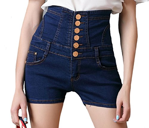 AngelSpace Womens Empire Waist Plus Size Butt Lifting Mini Jean Shorts