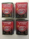 Pimentón ahumado de la Vera con tres sabores. Pack de 4 latas de pimentón de la Vera Ahumado, Agridulce, dulce y picante