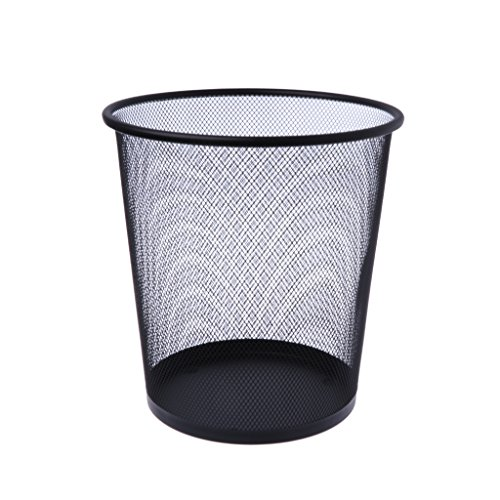 Guoyy Metall-Mesh-Papierkorb Runde Mülleimer-Recycling-Bin Office Tools Supplies schwarz -