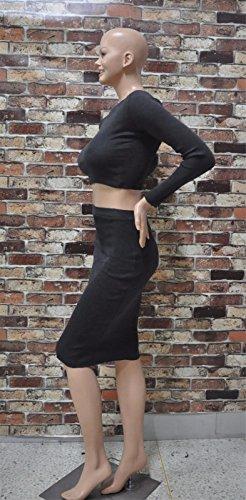 les femmes rondes cou robe mince de coton à manches longues robes deux pièces de cocktail Gris