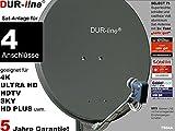 DUR-line Select 7504A Sat-Anlage komplett, für 4Teilnehmer, Schüsselgröße:80cm, anthrazit, (RAL 7012), 4K / 3D / HDTV ready, ohne Receiver
