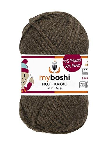 Myboshi (174 kakao) Merino Wolle / Acrylgarn No. 1 zum stricken, häkeln und für die Handarbeit (55m/50gr)