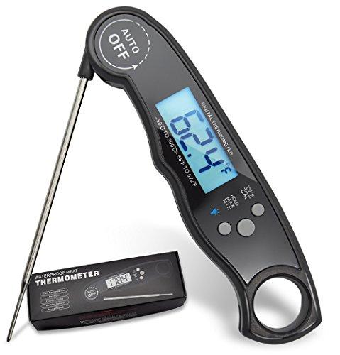 leischthermometer, digitales Thermometer mit Hintergrundbeleuchtung, LCD-Display, wasserdicht, elektrisches Fleisch-Thermometer, lange Sonde, zum Grillen und Räuchern ()