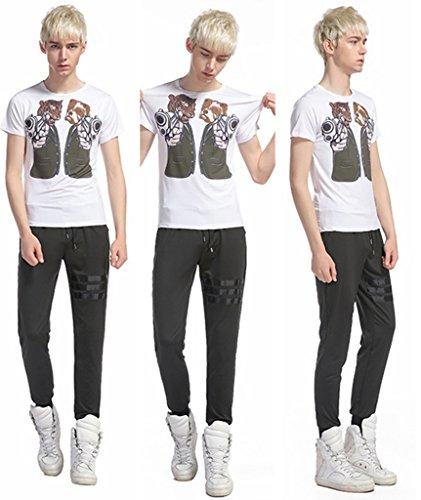 Whatlees Unisex Digital Printing Schmale Passform T Shirts mit Bunt Karikatur 3D Druck Muster B056-84